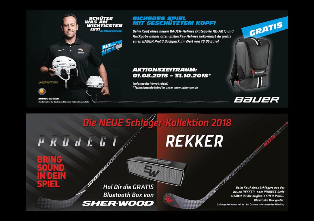 Bauer Helm SHER-WOOD Schläge Kampagne bth18